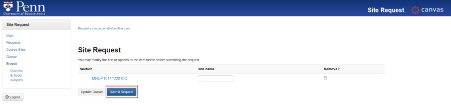 Example of the page where one submits a site request for processing,