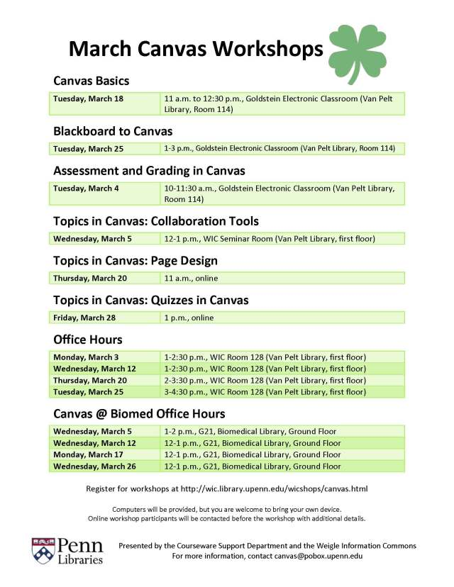 Canvas workshops for March. Register at http://wic.library.upenn.edu/wicshops/canvas.html