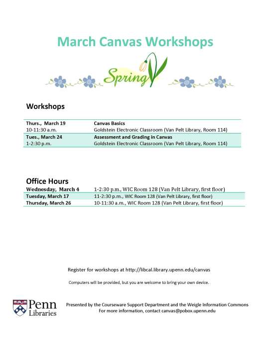 MArch 2015 Canvas Workshops & Office Hours Schedule