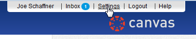 """Click on """"Settings"""" for your Canvas account."""