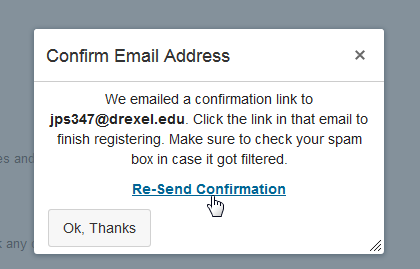 Re-Send Email Confirmation Window