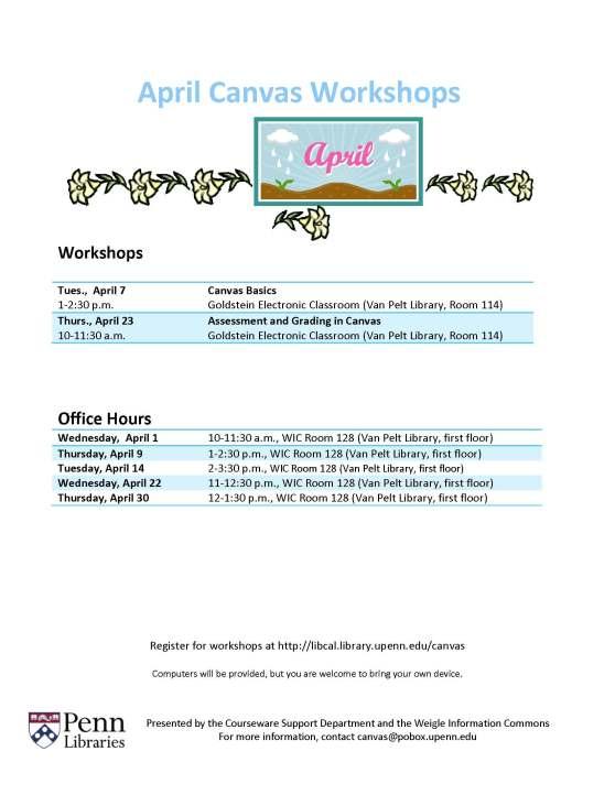 April 2015 Canvas Workshops & Office Hours