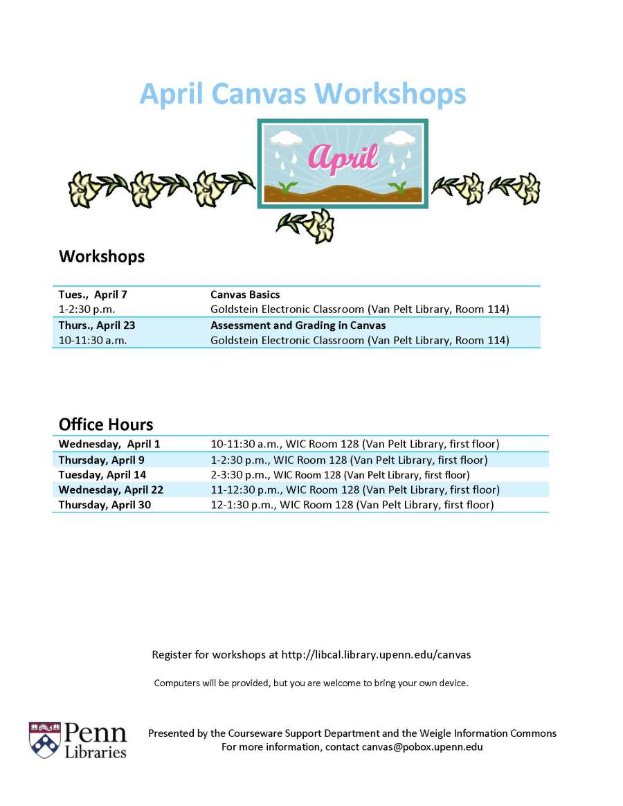 April 2015 Canvas Workshops & Office Hours