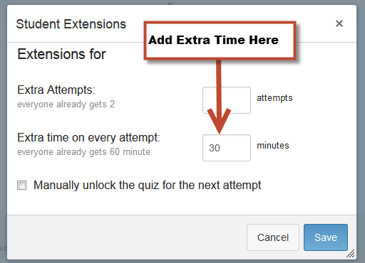"""Enter Extra Time in the """"Extra Time on Every Attempt"""" Box"""