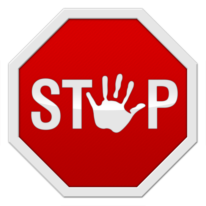 "stop sign with a hand-symbol instead of an ""o"""