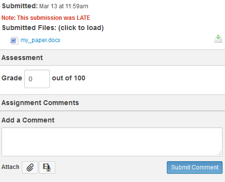 SpeedGrader has a message in red for late assignments.