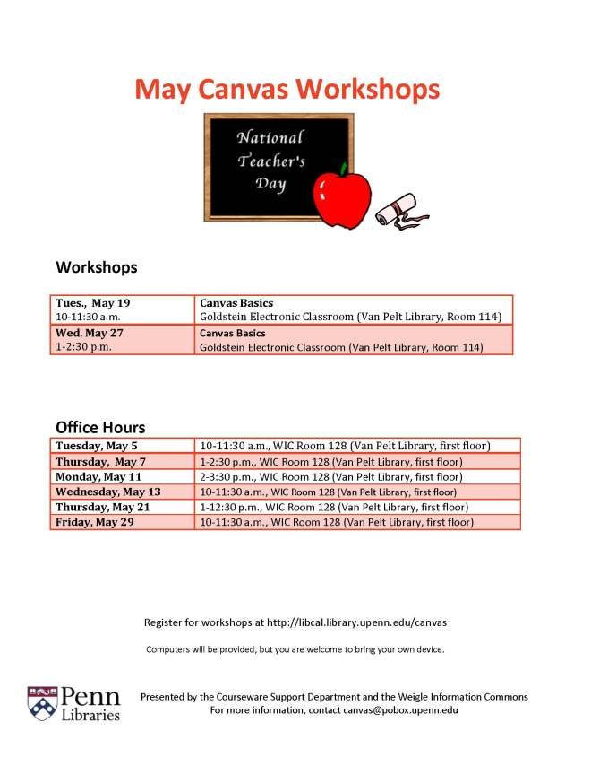 May 2015 Canvas Workshops & Office Hours Schedule