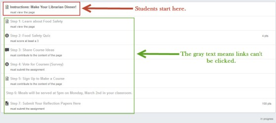 Student view of a module with sequenced items.