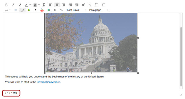 Example of HTML elements for selected content