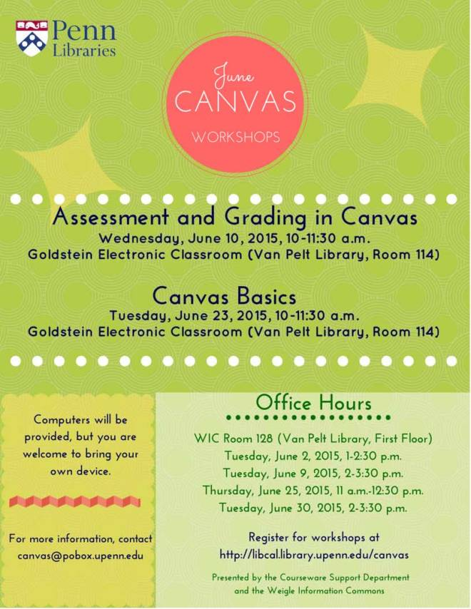 June 2015 Canvas Workshops and Office Hours Schedule
