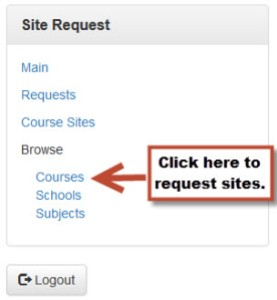 """Image of CRF side navigation with arrow pointing at the """"Courses"""" link."""