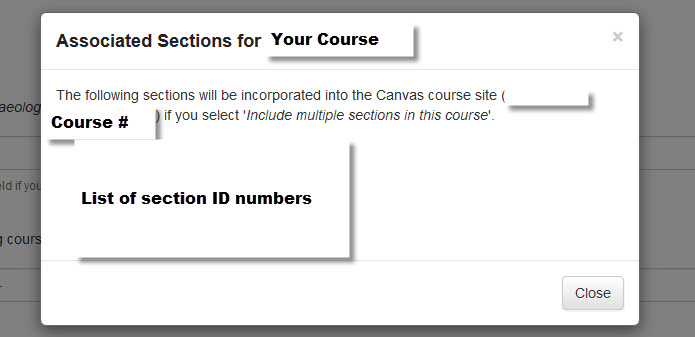 """Click on the """"Info"""" button to see what sections will be added if you click in the section check-box."""
