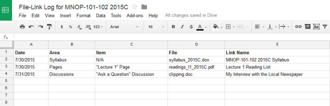 Example file-link log using a Google Spreadsheet