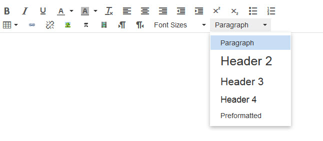 "Image of the ""Paragraph"" header drop-down menu in the Rich Content Editor"