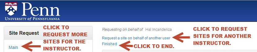 Image showing options when finished placing a site request.