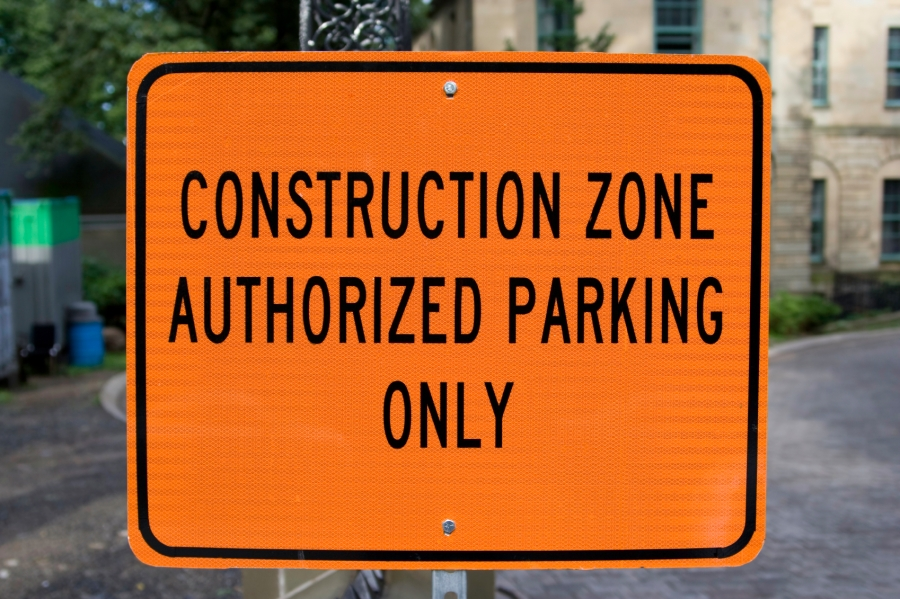 """Sign that reads, """"Construction Zone Authorized Parking Only"""""""