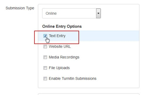 "Use ""Text Entry"" as the online-submission type of you want students to submit media through Kaltura."
