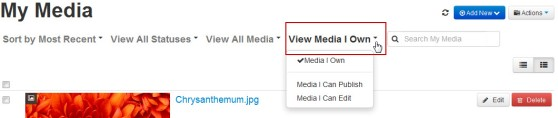 """""""View Media I Own"""" button in My Media"""