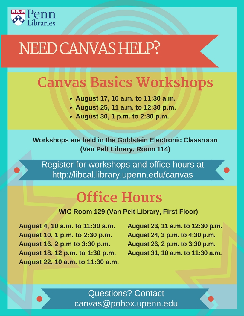 August 2016 Canvas Workshops & Office Hours Flyer