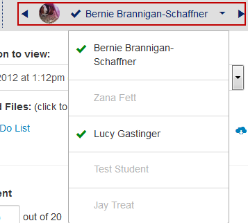 New student-name drop-down menu in SpeedGrader, which is now on in the upper-right side of the display.