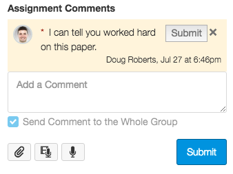An example of the comment-drafts display.