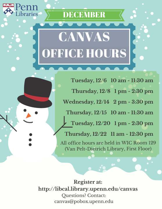 Schedule of December 2016 Canvas Office Hours