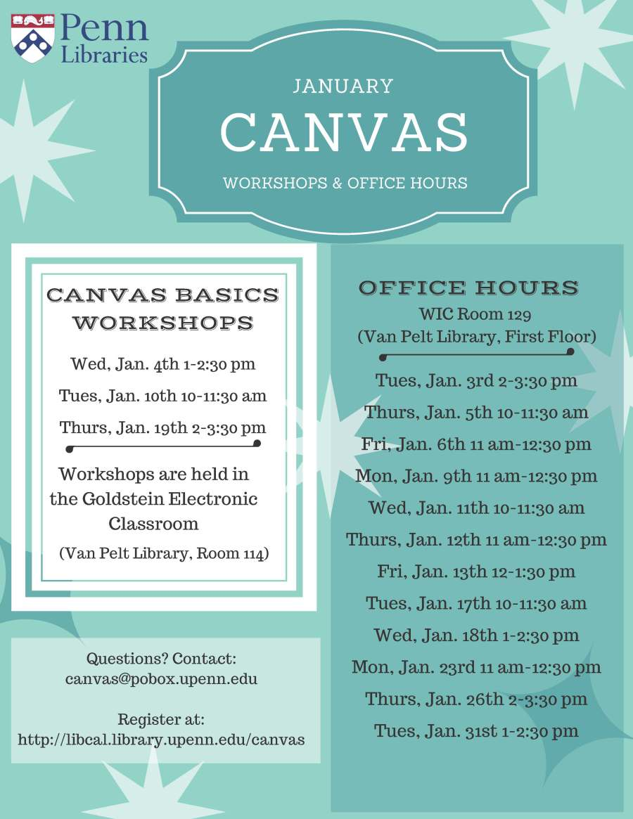 January 2017 Canvas Workshop & Office Hours Schedule