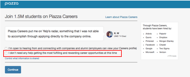 Red rectagle surrounding the second-option in the Piazza Careers sign-up form.