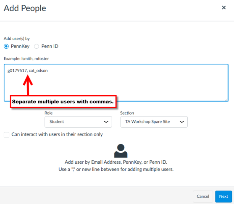 Example of adding multiple users at once with PennKeys. Comma between users' PennKeys is pointed out with a red arrow attached to a text-box that reads.
