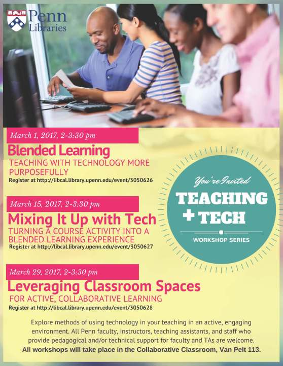 Information about Teaching + Tech Workshops for Spring 2017