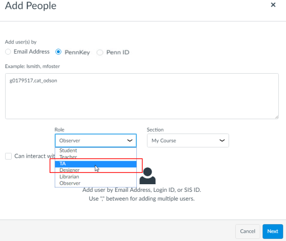 Example of selecting user role in the
