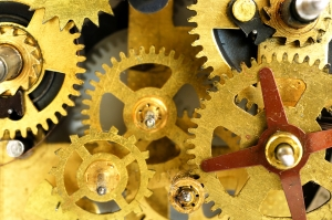 several gears from the inside of a machine