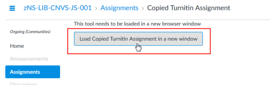 Cursor hovering over the link to load a Turnitin assignment in a new window.