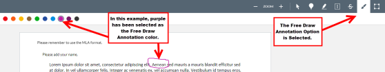 An example of purple selected as the Free Draw Annotation color.
