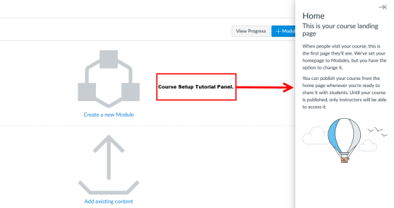 An example of the Course Setup Tutorial panel in a newly created Canvas site for new instructors.